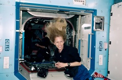 Marsha Ivins, smiling in space