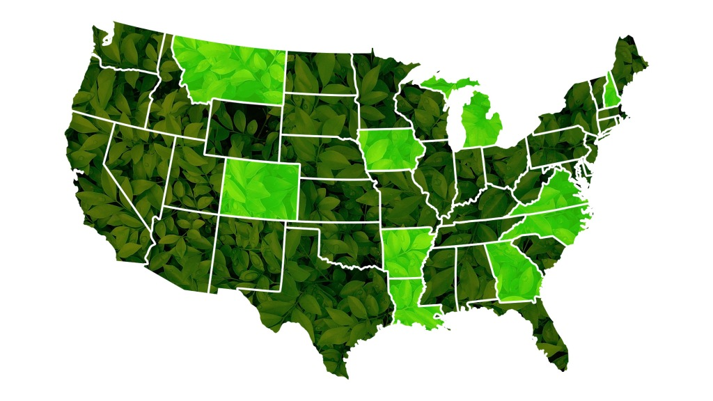 green U.S. map