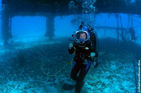 Earle walks beneath the Aquarius habitat off Key Largo, Fla.