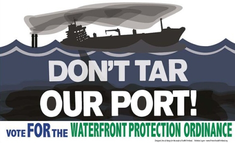 """Don't Tar Our Port"" sign"