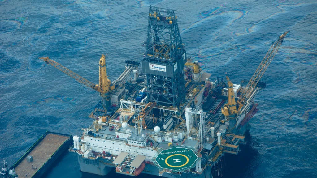 An oil rig in the Gulf