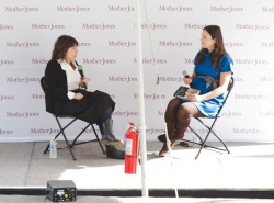 Inquiring Minds co-host Indre Viskontas interviews Alison Gopnik in AT&T Park at the Bay Area Science Festival.