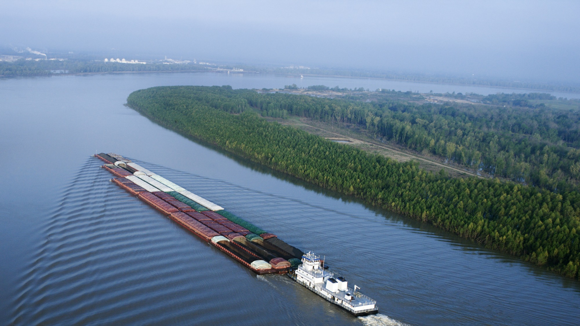 A barge on the Mississippi River