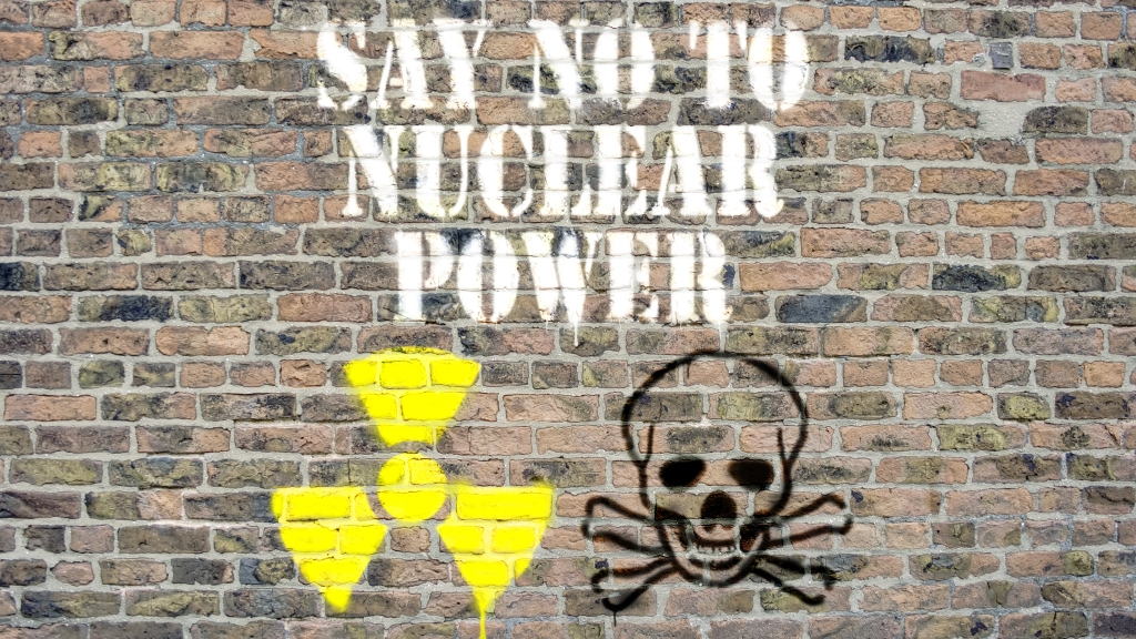 """""""say no to nuclear power"""" spraypainted on wall"""