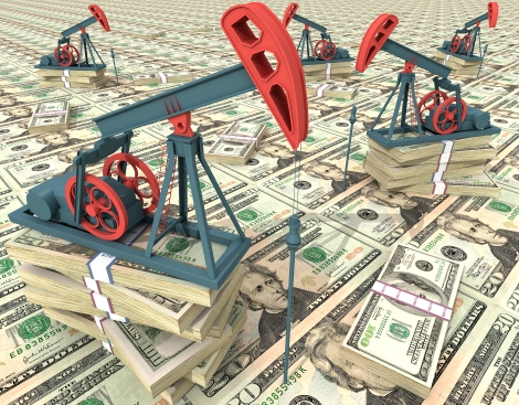 oil rigs on piles of money