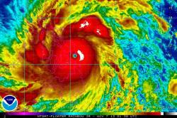 Super Typhoon Haiyan as it made landfall in the Philippines.