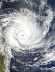Category 5 Cyclone Gafilo on March 6, 2004, about to strike Madagascar.