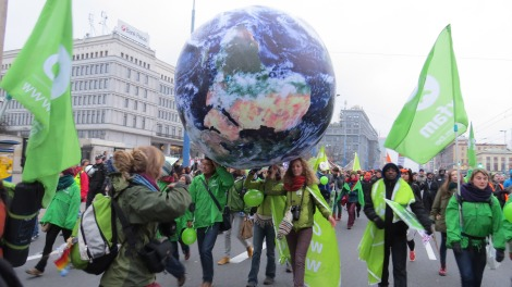 climate protesters in Warsaw
