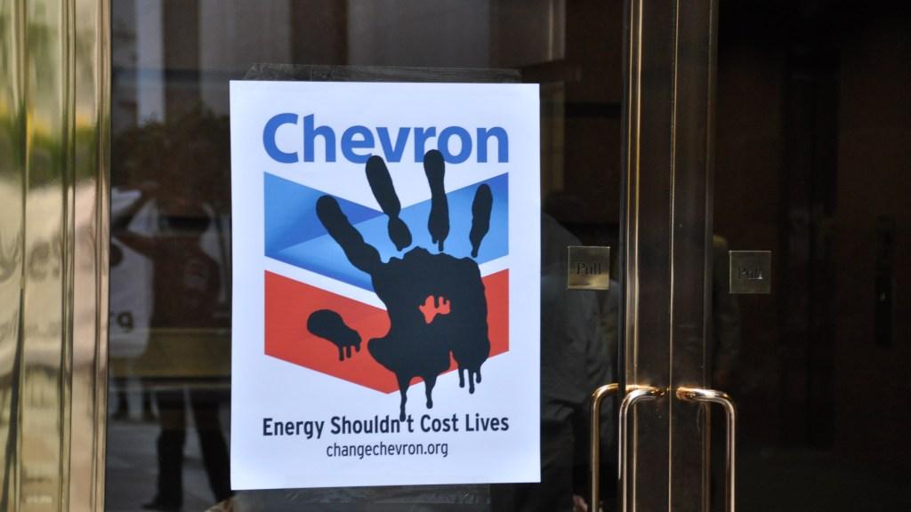 Chevron protest sign
