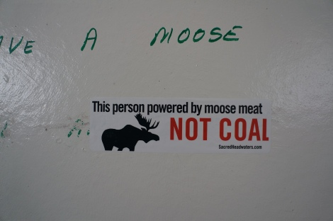 Bathroom humor: Sticker seen in a rest stop near the Sacred Headwaters.