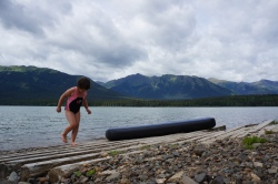 Frozen chosen: Child swims in Tatogga Lake.