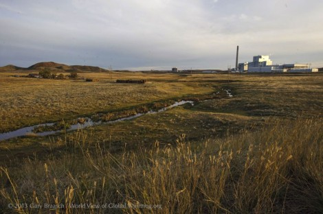 A ranch on the Little Powder River north of Gillette, Wyo., now shares the land with the recently built Dry Fork Power Plant, generating 385 megawatts of electricity by burning coal from a nearby mine.