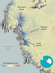 Ice loss in Antarctica; blue shows where ice is thinning, red where it's growing. Click to embiggen.