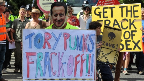 anti-fracking protesters in U.K.