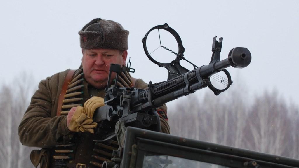 A reenactment of a battle involving the USSR