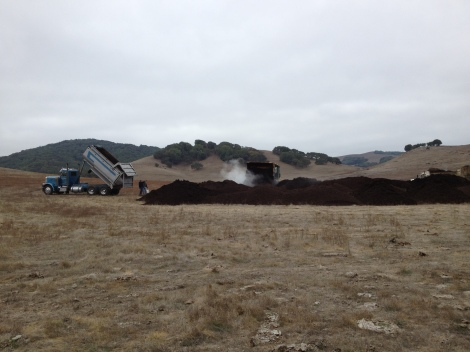 Spreading compost at Straus Dairy, in Marshall, California