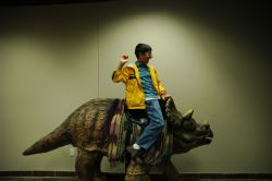 At the Creation Museum in Kentucky, a kid rides the triceratops statue. Just like our ancestors did, or something.