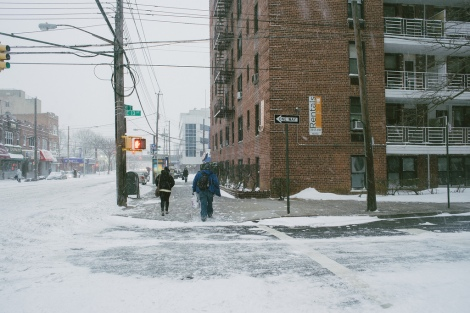 New Yorkers trudge through snow as Winter Storm Hercules approaches.