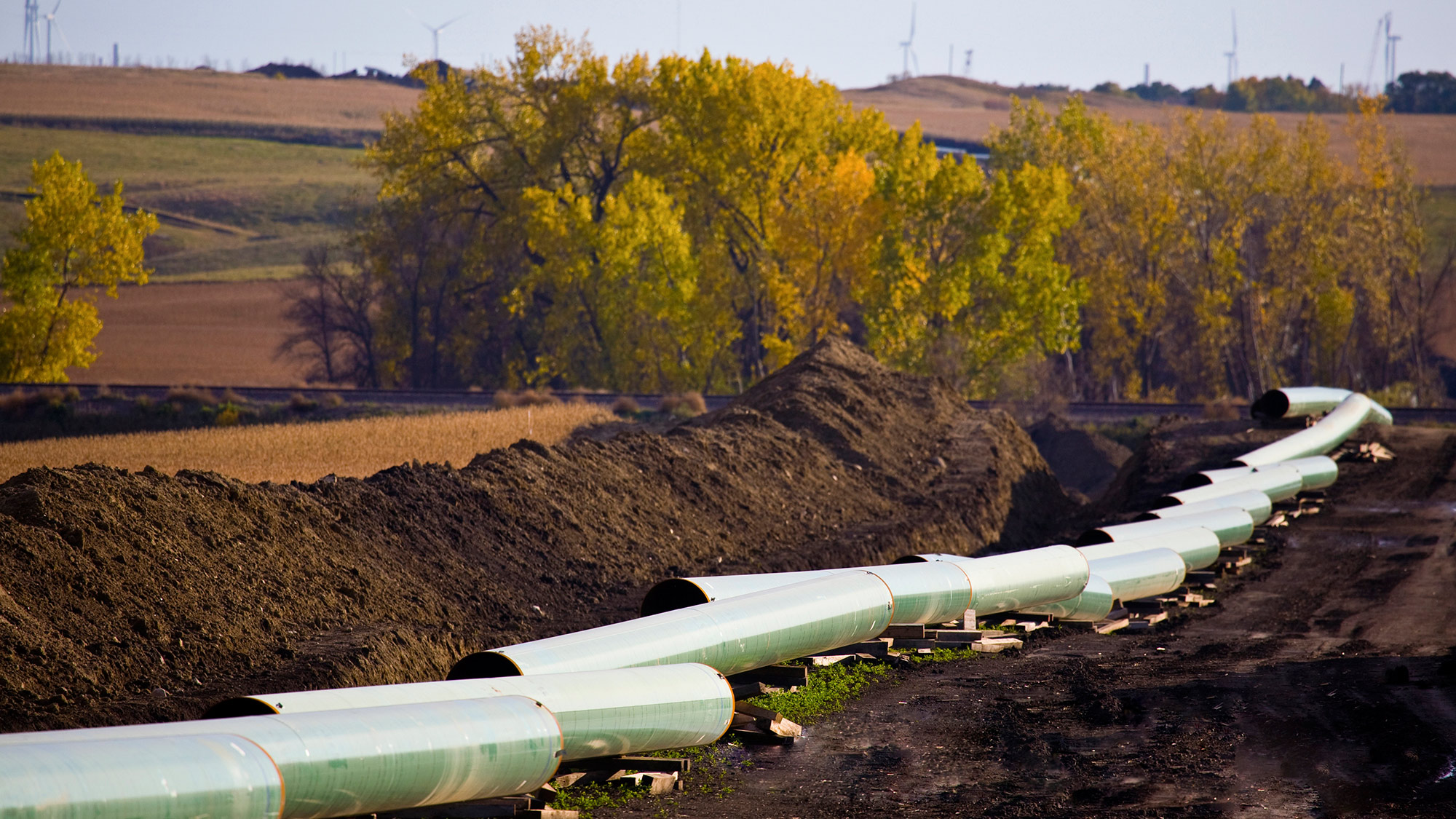 The Keystone Oil Pipeline is pictured under construction in North Dakota in this undated photograph released on January 18, 2012.