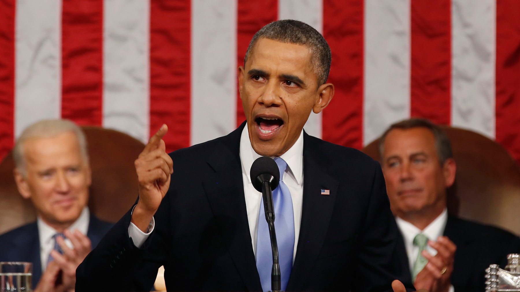 U.S. President Barack Obama delivers his State of the Union speech on Capitol Hill in Washington, January 28, 2014.