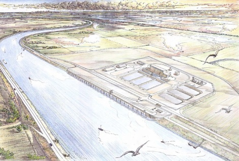A concept drawing of a tunnel intake near Hood, as envisioned by the Bureau of Reclamation. The fish screens are located in the structure along the canal. If the plan goes through, there will be three similar intakes along the Sacramento River near Hood.