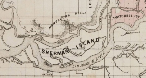 A historical map of Sherman Island, the first drained-and-leveed island created in the massive estuary where the rivers of California's Central Valley meet the waters of the San Francisco River.