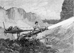 A miner blasts through rubble with a hydraulic cannon in an 1883 illustration from The Century magazine.