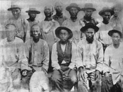 Chinese laborers in California, circa 1880 .
