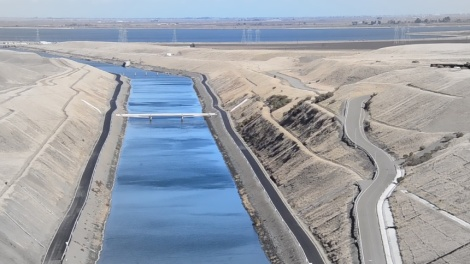 The channel leading from the Clifton Court Forebay into the Banks Pumping Plant can send more than 10,000 cubic feet of water per second flowing into the California Aqueduct.