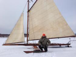 "Kesenbaum posing in front of the ice yacht ""Cyclone"" on Tivoli Bay near Barrytown, New York."