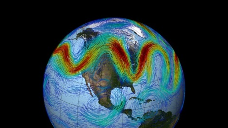 The jet stream in a particularly wavy state.