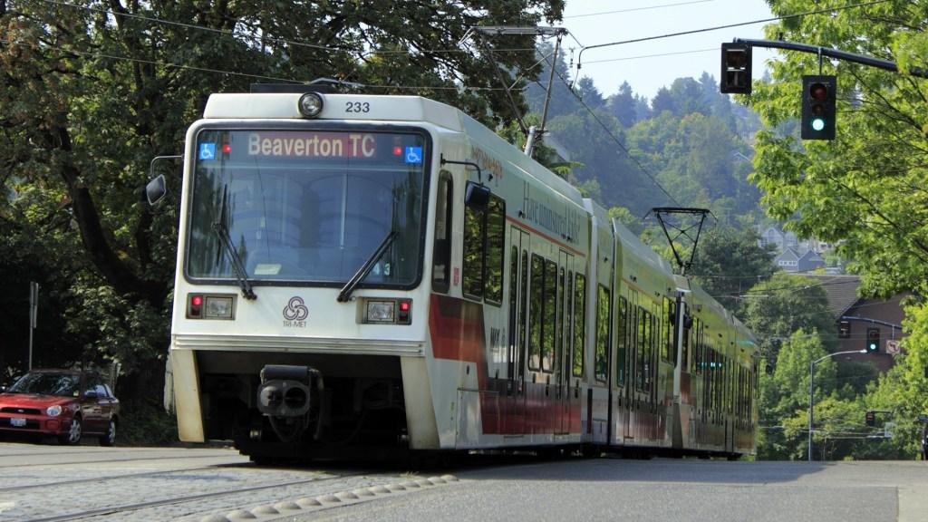 light rail on tree-lined Portland street