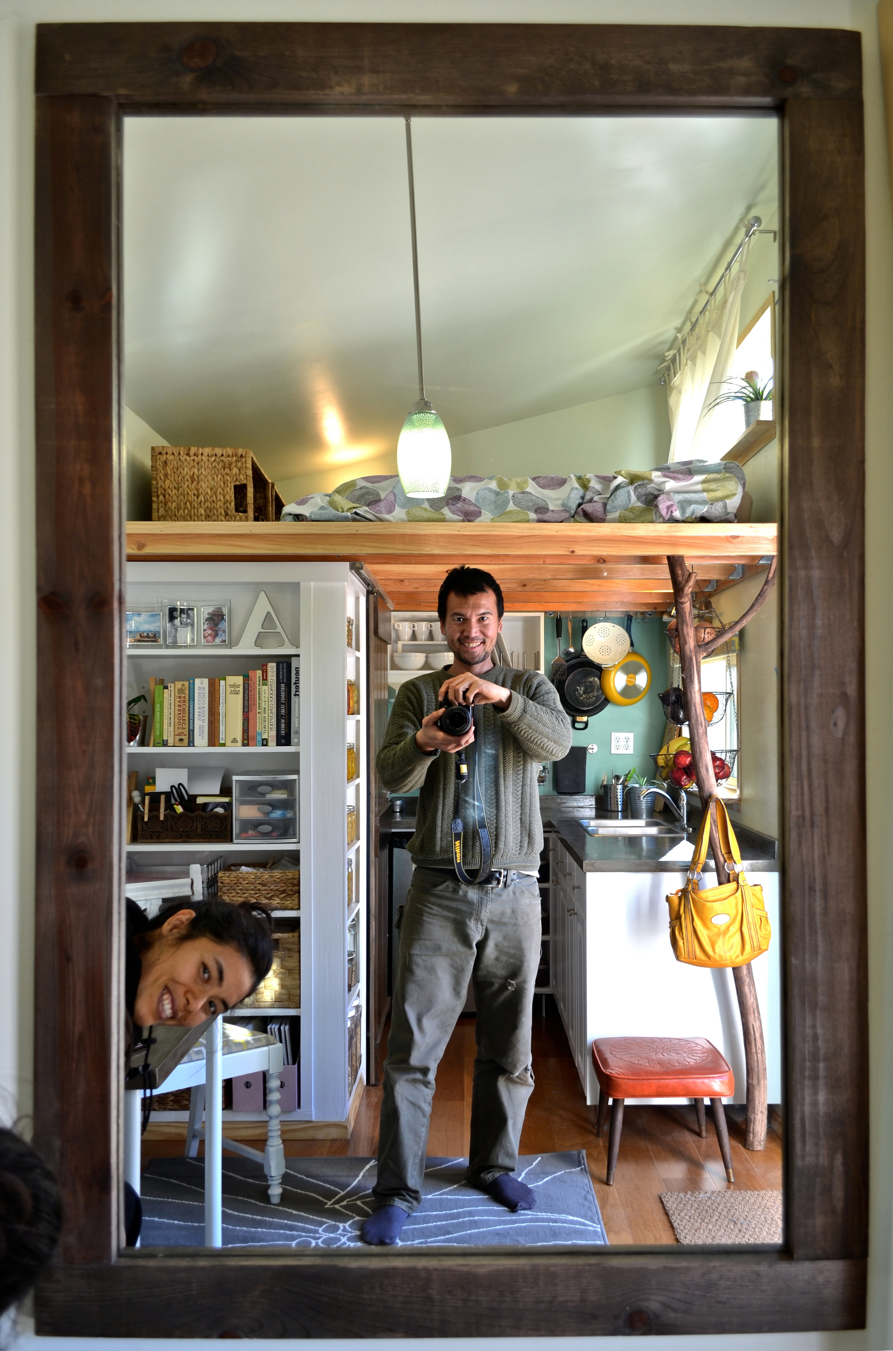 """Muller and Nithya in their """"micro-homestead."""""""