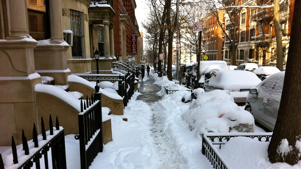 Snow covered Brooklyn sidewalk