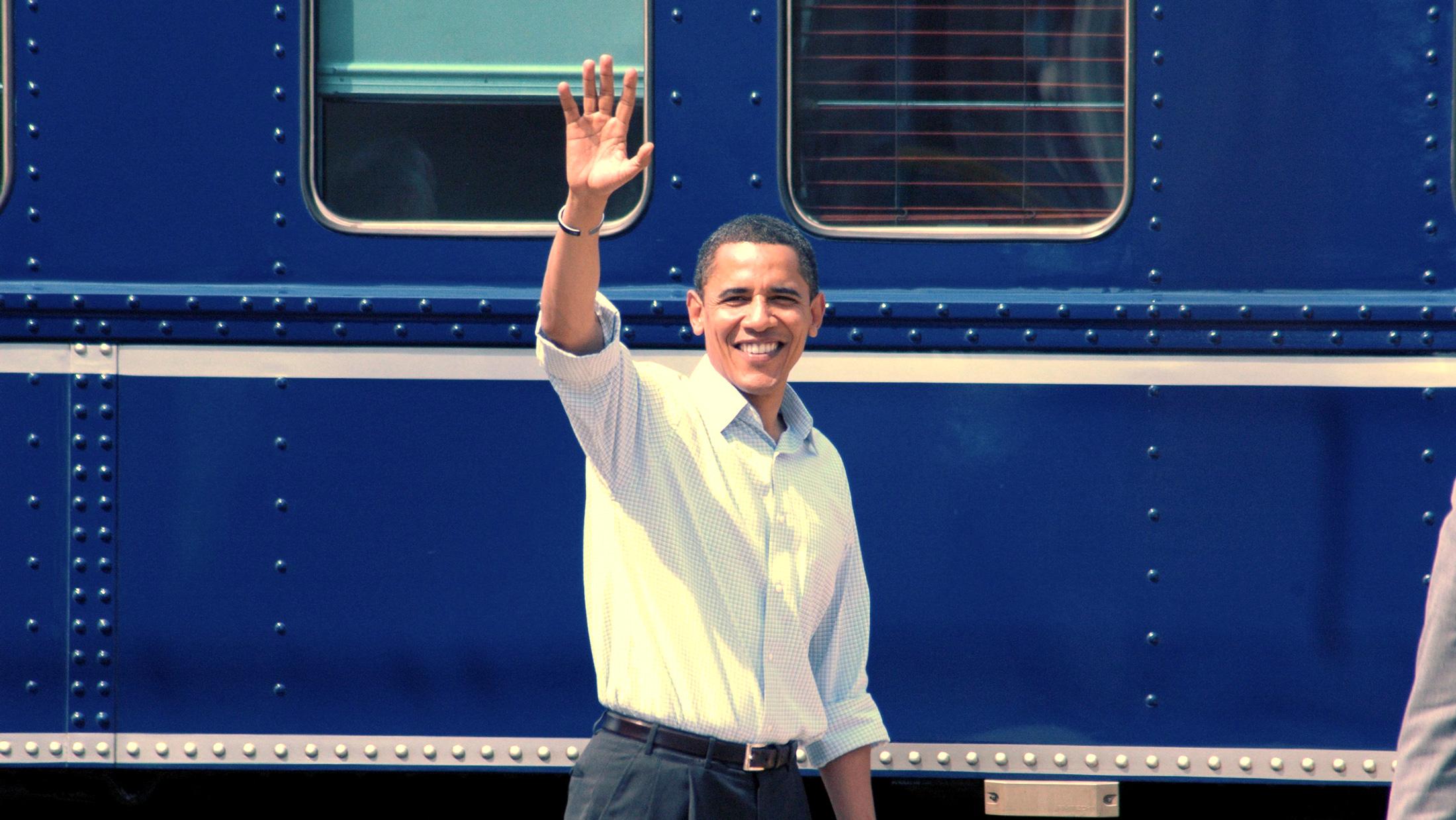 Obama and train
