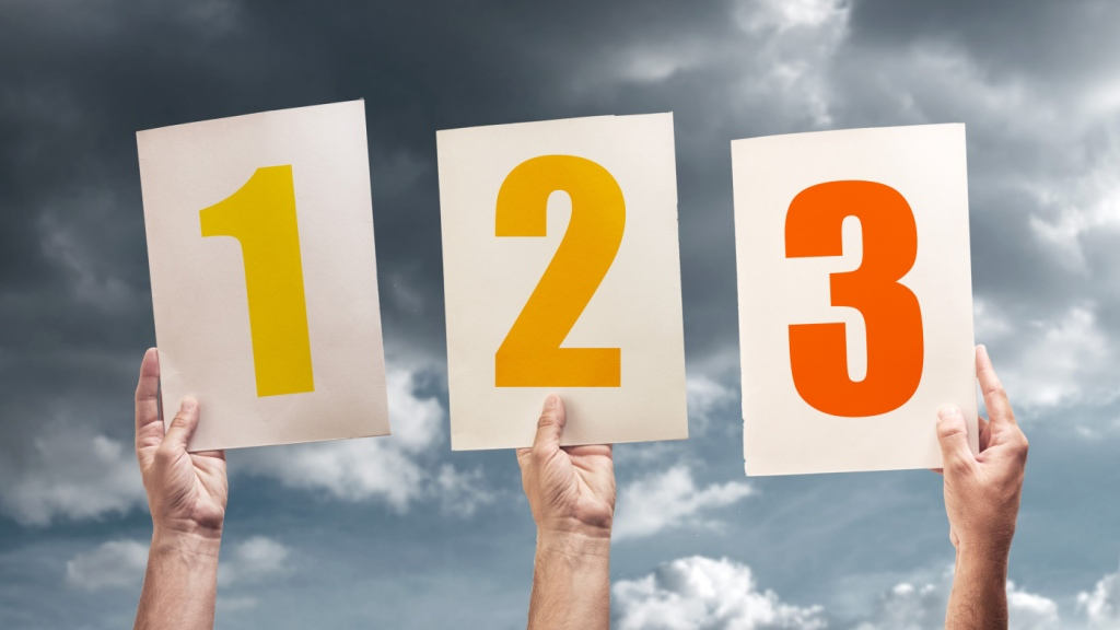 One, two, three hands holding numbers