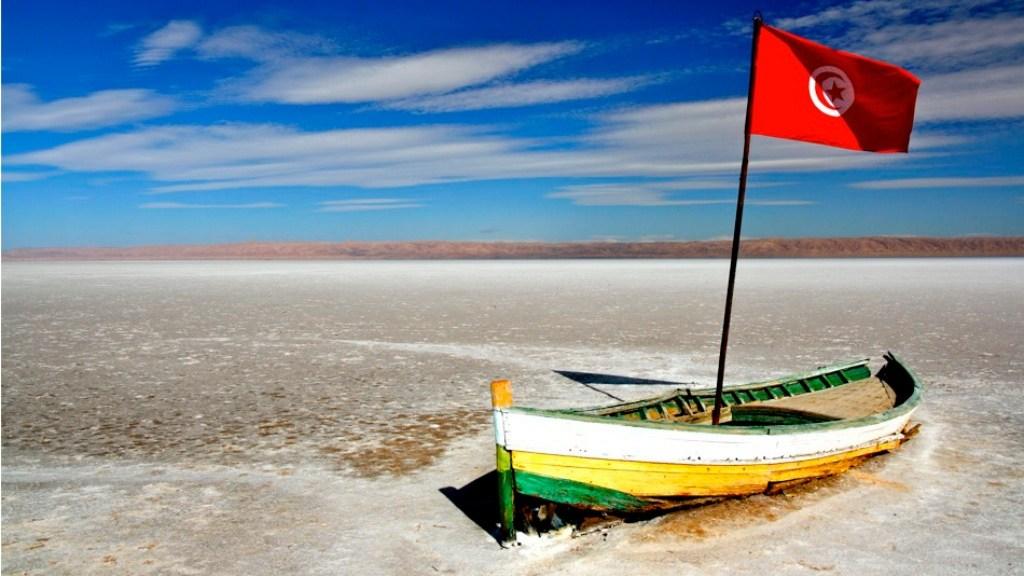 Old boat on the Chott el-Jérid Salt Lake, Tunisia