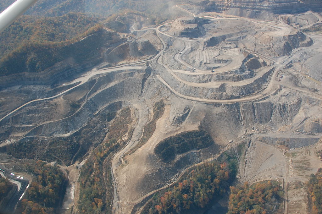 Mountaintop removal coal mining site in Kentucky