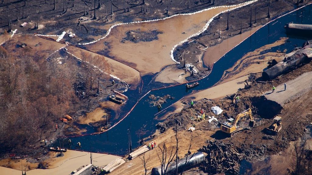 Aftermath of a arain derailment in Alabama