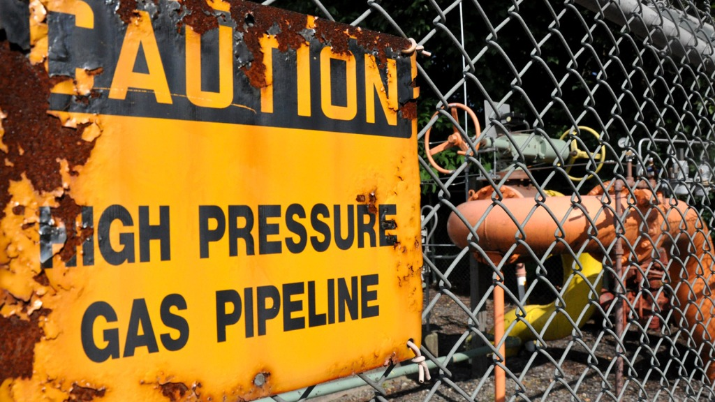 "sign: ""Caution: high pressure gas pipeline"""