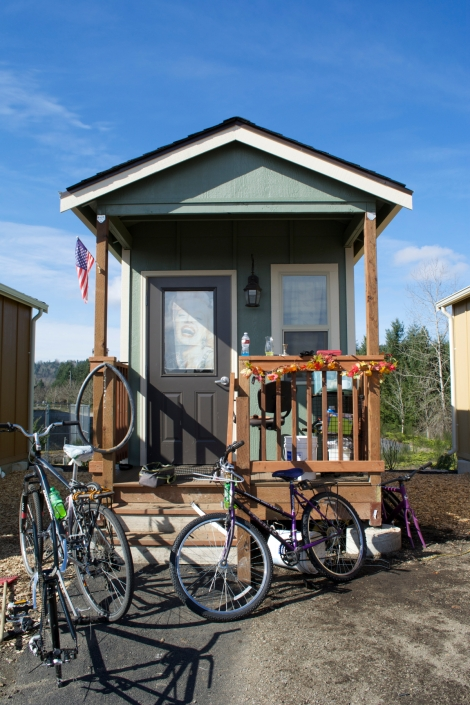 The village's bike mechanic lives in this tiny house, which is more decorated than most of its neighbors.