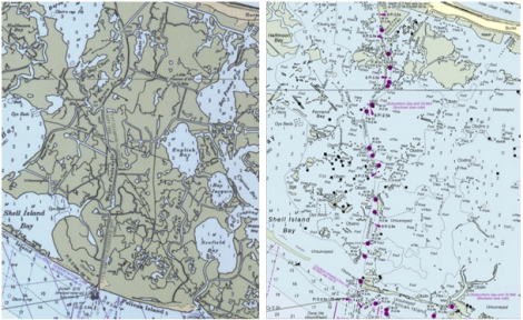 The area south of the town of Buras, Louisiana, in 1990 (left) and today (right). NOAA has retired the names English Bay, Bay Jacquin, and Scofield Bay, acknowledging the vast water that now separates Buras from the barrier along Pelican Island. Click to embiggen.