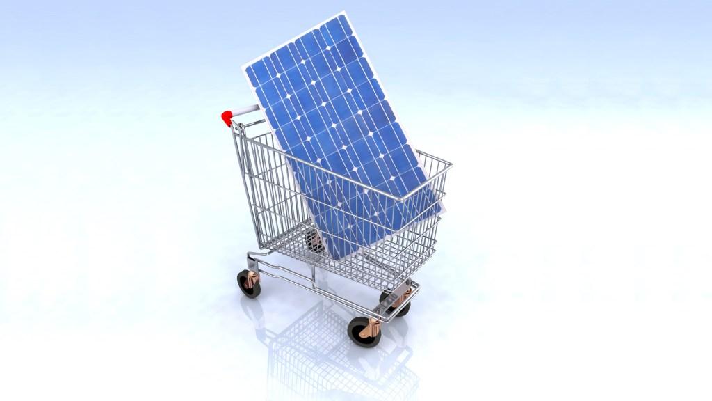 solar panel in a shopping cart