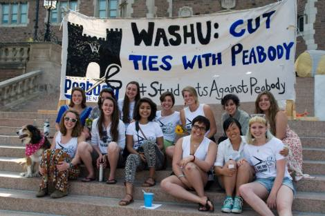 Washington University (St. Louis) students after a campus rally to get the school to cut ties with Peabody Energy.