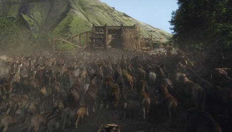 Animals herd onto the Ark in Noah.