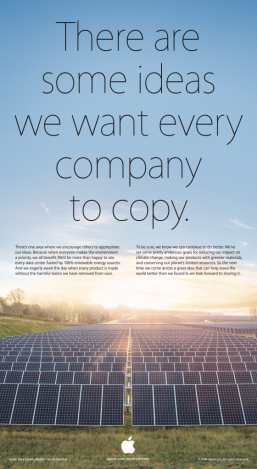 An Apple ad touts the company's solar powered data centers