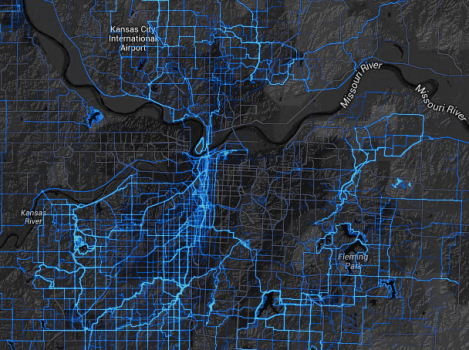 Where cyclists ride in Kansas City