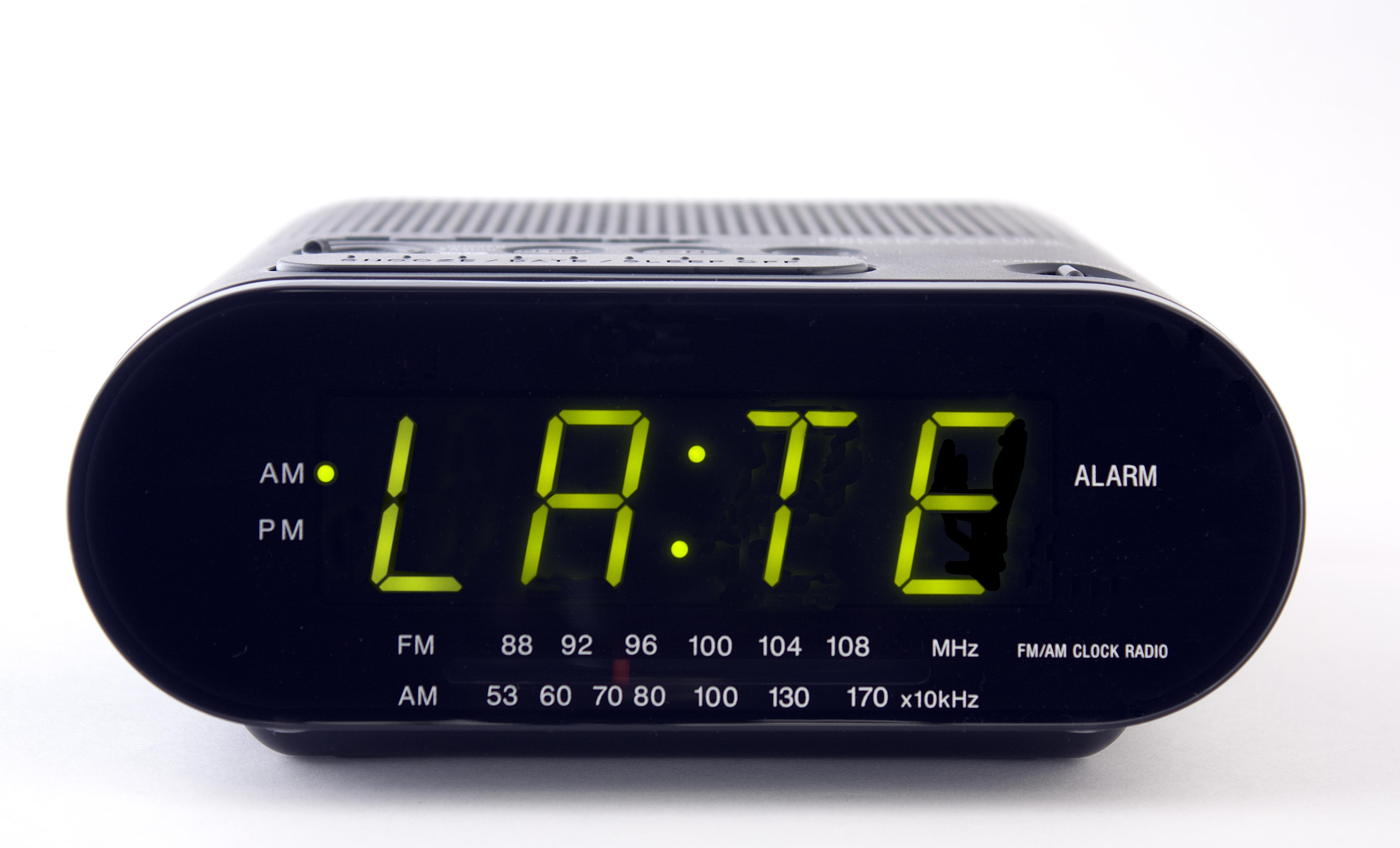 alarm clock that says