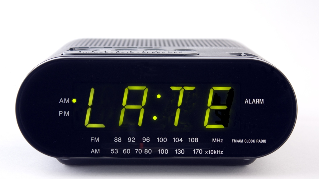 "alarm clock that says ""late"""