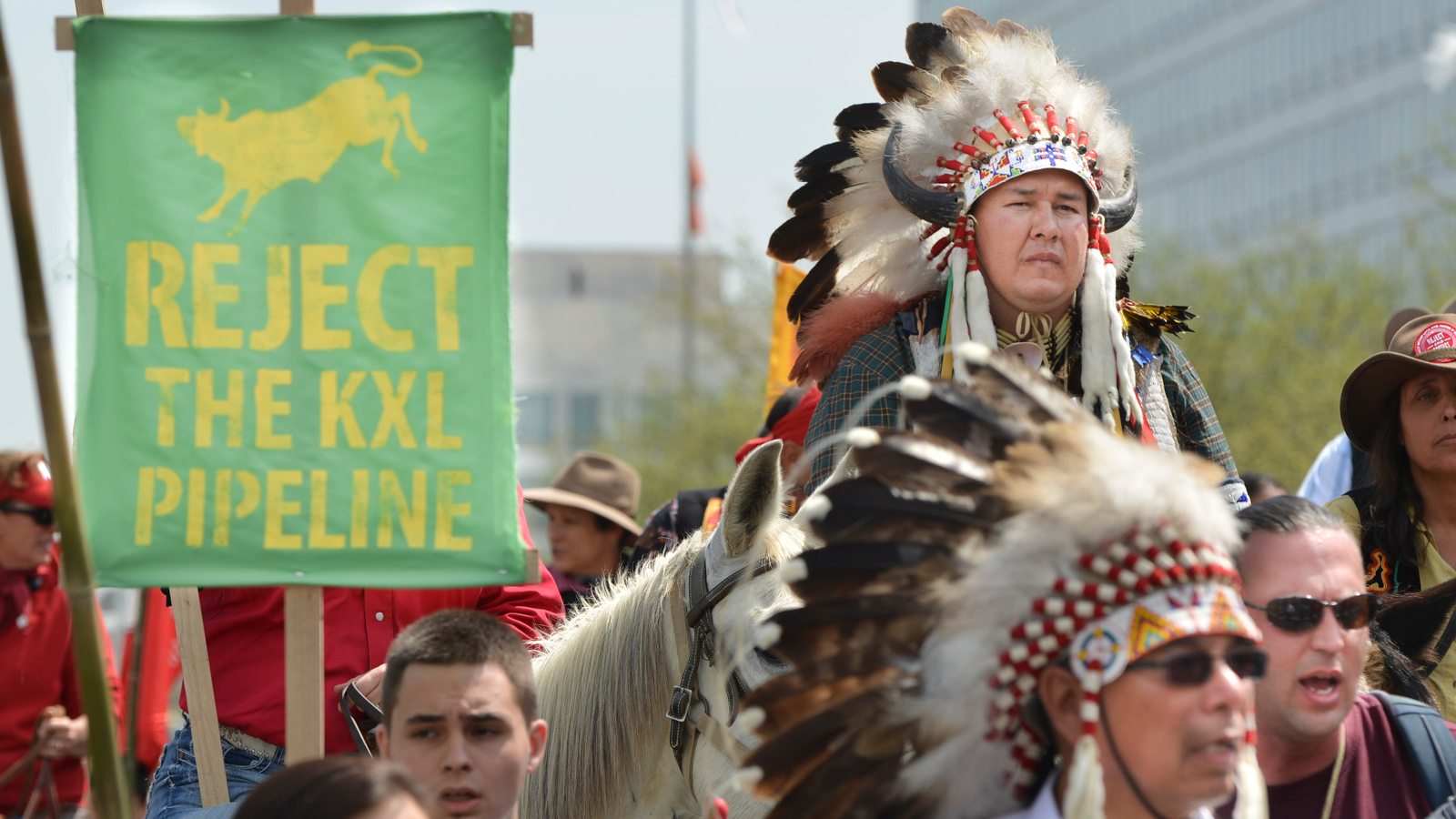 Keystone protest with Native American